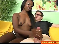 Tugjob loving nubian babe pleases his cock