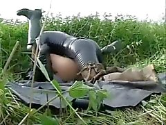 Blissful latex lasses with freakish bearded clams get busy by the side of the road