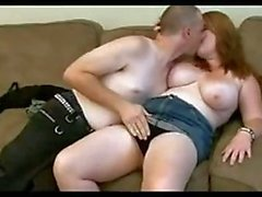 Nerdy chubby redhead fucks by boyfriend