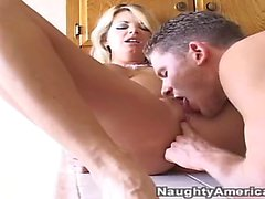 -Blonde Busty MILF fucked in kitchen