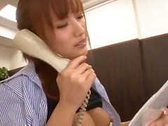 asian secretary on the phone