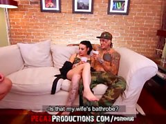 Hard Pounding for a Hot Tattoed Bitch Threesome - Pegas Productions