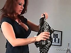Bisexual cougars sharing double dildo in ass to ass scene