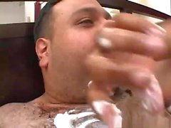 Blonde fucked by fat man