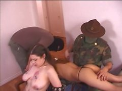 Sluts spanked and teased by army guys