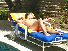Amateur girl masturbating by pool