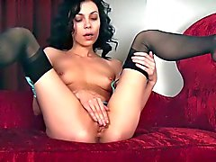 Slim adult model Lily in black nylons