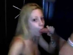 Blonde amateur gives blowjob