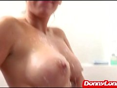 Donny Long titty fucks big titty attention whore and breaks