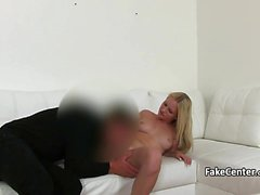 Blonde got pussy licking on casting