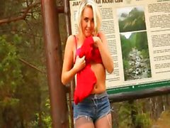Blonde babe in pantyhose strip forest