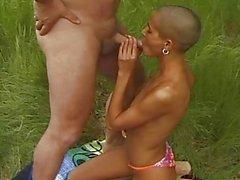 Black amateur girlfriend sucks and fucks outdoor