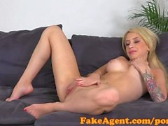 FakeAgent Sexy blonde amateur takes huge facial in Office