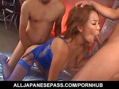 Rui Horie with huge cans sucks dongs and gets cum in love box