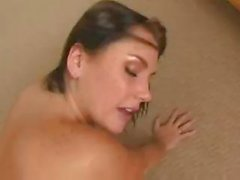 Busty Katin sucks on a cock and gets it in both fuck holes