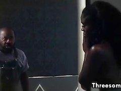Interracial Threesome With A Black Slut