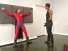 Super Hero Hunk Tied Up and Edged