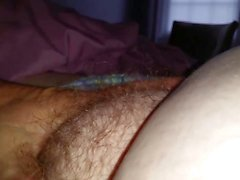 rubbing my lips & kissing my wifes soft hairy pussy pubes