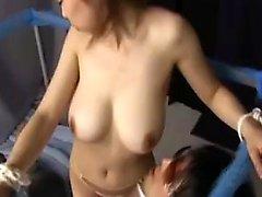 Voluptuous oriental lady seduces a kinky guy to kiss her hu