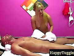 Blonde asian makes guy cum at massage