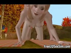 Yummy 3D cartoon blonde babe gets fucked outdoors