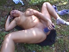 Horny german babe fucks herself with a bottle
