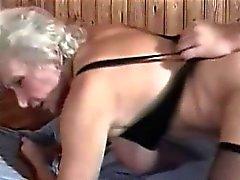 Hairy Horny Granny inside sauna bang