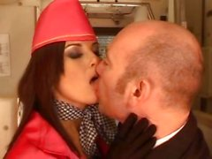 Kate Jones joins the mile high club in this cramped sex scene