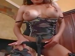 Busty milf in stockings a bra and high heels