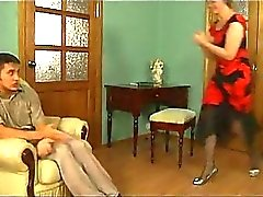 Horny Mature Blondie Seducing Innocent Dude
