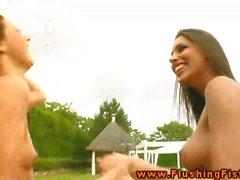 Fist loving lez schoolgirl gets licked outdoor