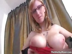 Busty blonde slut gets horny rubbing part4