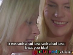 Girlfriends Perfect tits blonde and her lesbian lover watch films