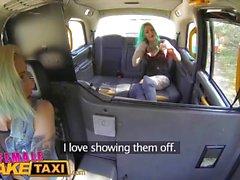 Female Fake Taxi Dildo makes hot lesbian tattooed babe squirt