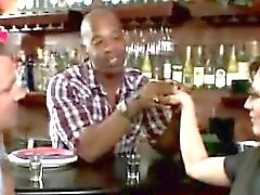 Horny MILF makes husband watch her sucking the black barman