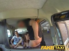 FakeTaxi Taxi driver gets balls deep in hot backseat threesome action