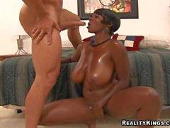 Ebony bbw Stacy Adams gets her giant Tits banged