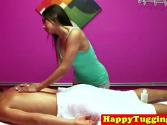 Real nuru masseuse toying with lucky customers cock