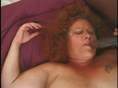 Fat And Furry Redhead Granny Gets A Pair O' Cocks