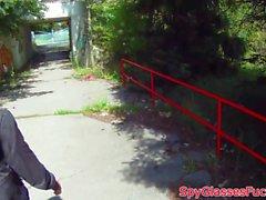 Smalltitted babe pov fucked in public in pov