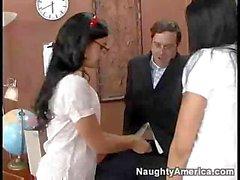 Schoolgirls Audrey Bitoni and Presley Maddox share teacher's love club