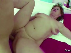 Mother Caught Step-Son Jerk and Help Him With Fuck