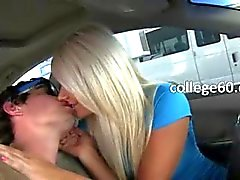Horny babes gag dick in car