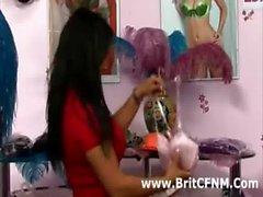CFNM male watches strict British woman strip