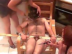 Femdom cutting the slave