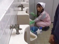 Asian bathroom attendant is in the mens part1