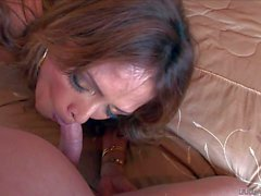 Sexy MILF Monique gives head on the bed
