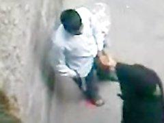 Paki Aunty in Black Burqa enjoys Muslim Sex with Paki Boy on Road