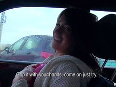 Amateur Anastasia shows her tits in a car