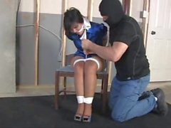 Gigi Grabbed From Behind And Hogtied!